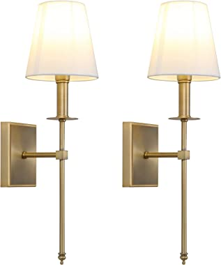 Permo Set of 2 Classic Rustic Industrial Wall Sconce Lighting Fixture with Flared White Textile Lamp Shade and Antique Brass