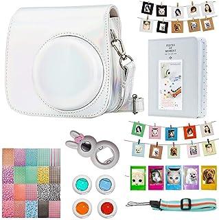 Cpano Instax Mini 9 Accesorios de la cámara Paquete para FujiFilm Instax Mini 9 8 8+ cámara con Mini 9 Funda/álbum/Lentes Selfie/filtros/Marcos/Pegatina/Correa de Hombro (Plata Láser)