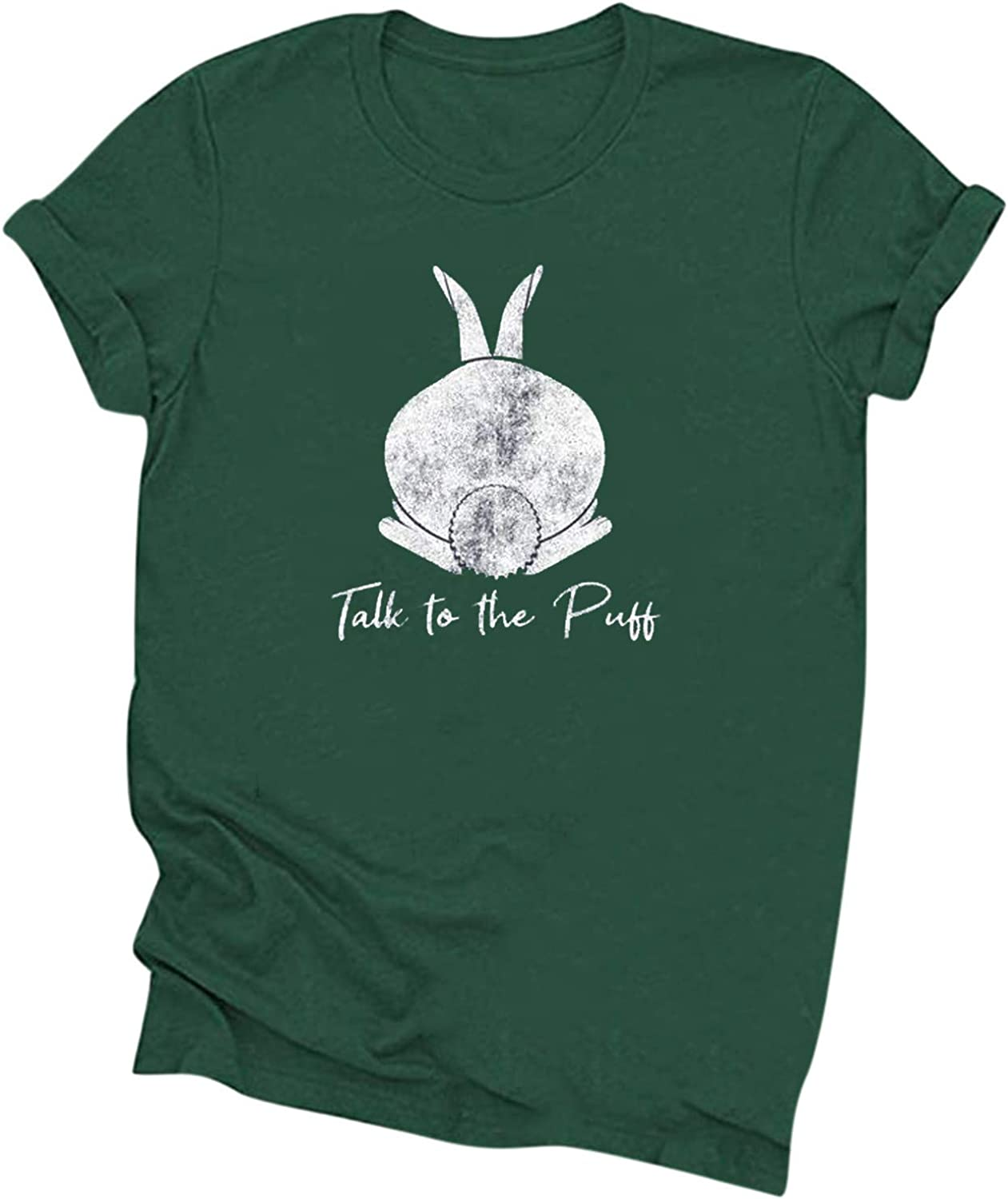 Womens Talk to The Puff T Shirt Funny Easter Bunny Tail Behind Humor Cool Cotton Tees Tops Rabbit Owner Lover