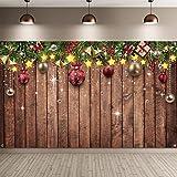 Telón de Fondo de Navidad para Fotografía Fondo de Tela de Patrón de Madera de Feliz Navidad Fondo de Foto de Árbol de Pino Adornos Accesorios de Navidad Año Nuevo, 72,8 x 43,3 Pulgadas
