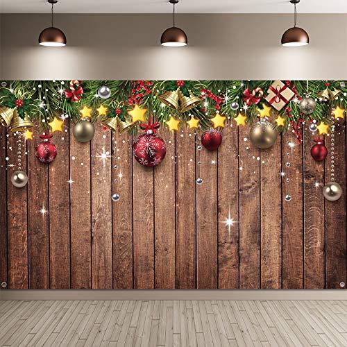 Telón de Fondo de Navidad para Fotografía Fondo de Tela de Patrón de Madera de Feliz Navidad Fondo de Foto de Árbol de Pino Adornos Accesorios de Navidad Año Nuevo,...