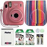 Fujifilm Instax Mini 11 Camera with Case, Fuji Instant Film (20 Sheets) and Photo Album (Flamingo Pink)