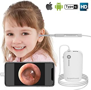 Otoscope iPhone, Scopearound New Upgrade 4.3mm Ultra-Slim HD Ear Scope Camera Digital Otoscope, Earwax Cleaning Tool with 6 LED Lights for iPhone and Android
