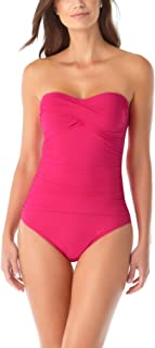 Anne Cole Women's Twist Front Shirred One Piece Swimsuit Berry 12