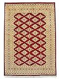 Pak Persian Rugs Alfombra Tradicional Persa Hecha a Mano Jaldar, Lana/Arte. Silk (Highlights), Rojo Oscuro, 123 x 173 cm, 4 'x 5 '8' (ft)