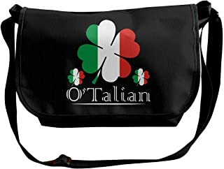 O'Talian - Bolso bandolera para hombre, diseño de trébol de 4 hojas con bandera italiana
