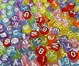 Perlin - 300 Buchstaben Perlen, Buchstabenperlen 7mm Rund Bunte ''A-Z'' mit Weisse Buchstaben, Alphabet Beads, Perlenmischung Perle zum fädeln für Armbänder Auffädeln, Halsketten D107 x2