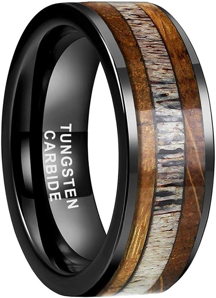 iTungsten 8mm Silver/Black/Rose Gold Tungsten Carbide Rings for Men Women Wedding Bands Whiskey Barrel Oak Wood Deer Antler Inlay Polished Shiny