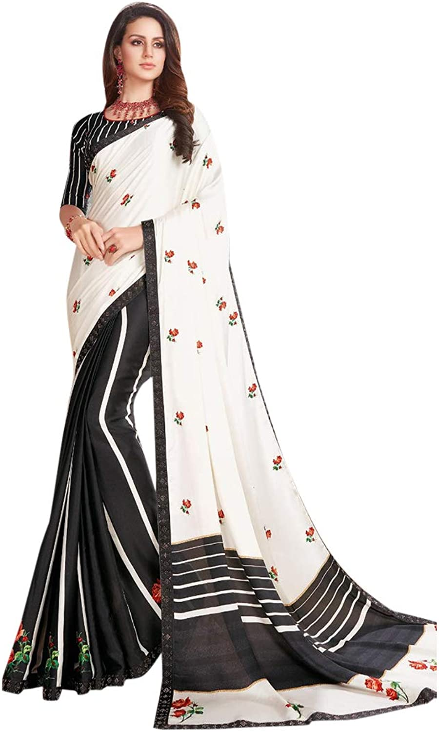 Black White Indian Ethnic Swarovski work Sari with Blouse piece Designer Saree for Women Party 7768