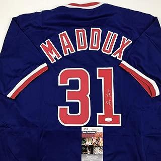 Autographed/Signed Greg Maddux Chicago Blue Baseball Jersey JSA COA