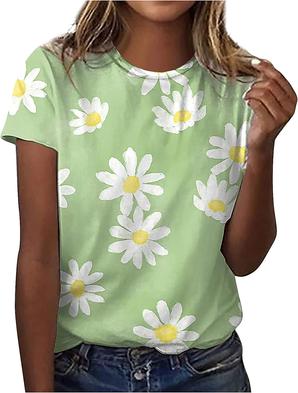 FABIURT Womens Summer Tops, Women Casual V Neck Butterfly Printed T-Shirt Short Sleeve Blouses Comfy Summer Shirts Tops