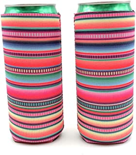 2pcs Neoprene Slim Beer Can Cooler Tall Stubby Holder Foldable Stubby Holders Beer Cooler Bags Fits 12oz Slim Energy Drink & Beer (Serape)