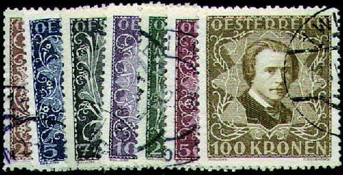 Goldhahn Österreich Nr. 418-424A gestempelt Komponisten und Musiker 1922