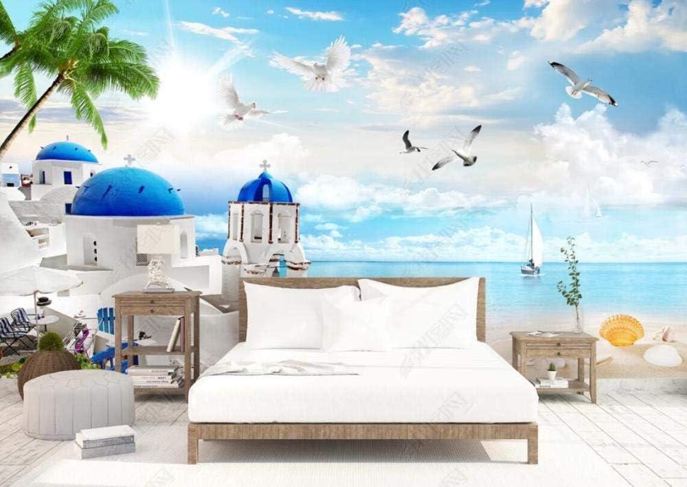 Wallpaper マート 3D Effect Castle Custom 限定タイムセール Sea Scenery Seagull
