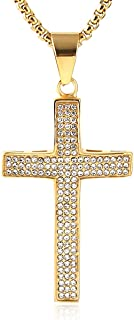 HZMAN Mens Iced Out Cross Cz Inlay Pendant 18k Gold Plated Stainless Steel Hip-Hop Necklace 24""