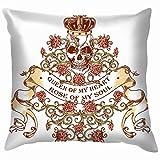 NE Skull Royal Crown - Funda de almohada para sofá, 50,8 x 50,8 cm (20 x 20 pulgadas)