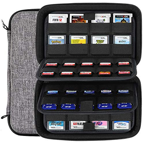 Sisma 72 Games Holder Cartridges Collection Storage Case for 40 Nintendo Switch Sony PS Vita Games and 32 Nintendo 3DS DS Game Cards, Grey
