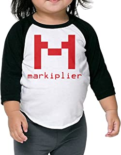 Markiplier Warfstache M Logo Kids 3/4 Sleeve Baseball T Shirts Black