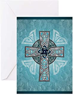 CafePress Traditional Celtic Cross Turquoise Greeting Cards Greeting Card, Note Card, Birthday Card, Blank Inside Glossy