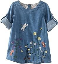 haoricu Girls Dress, 2017 Toddler Kids Baby Girls Flower Embroidery Denim Dresses