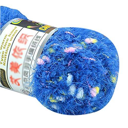 Lot de 3 tricotée Couleur Point Yarns Foulard tissées à la main doux velours Yarns, Bleu