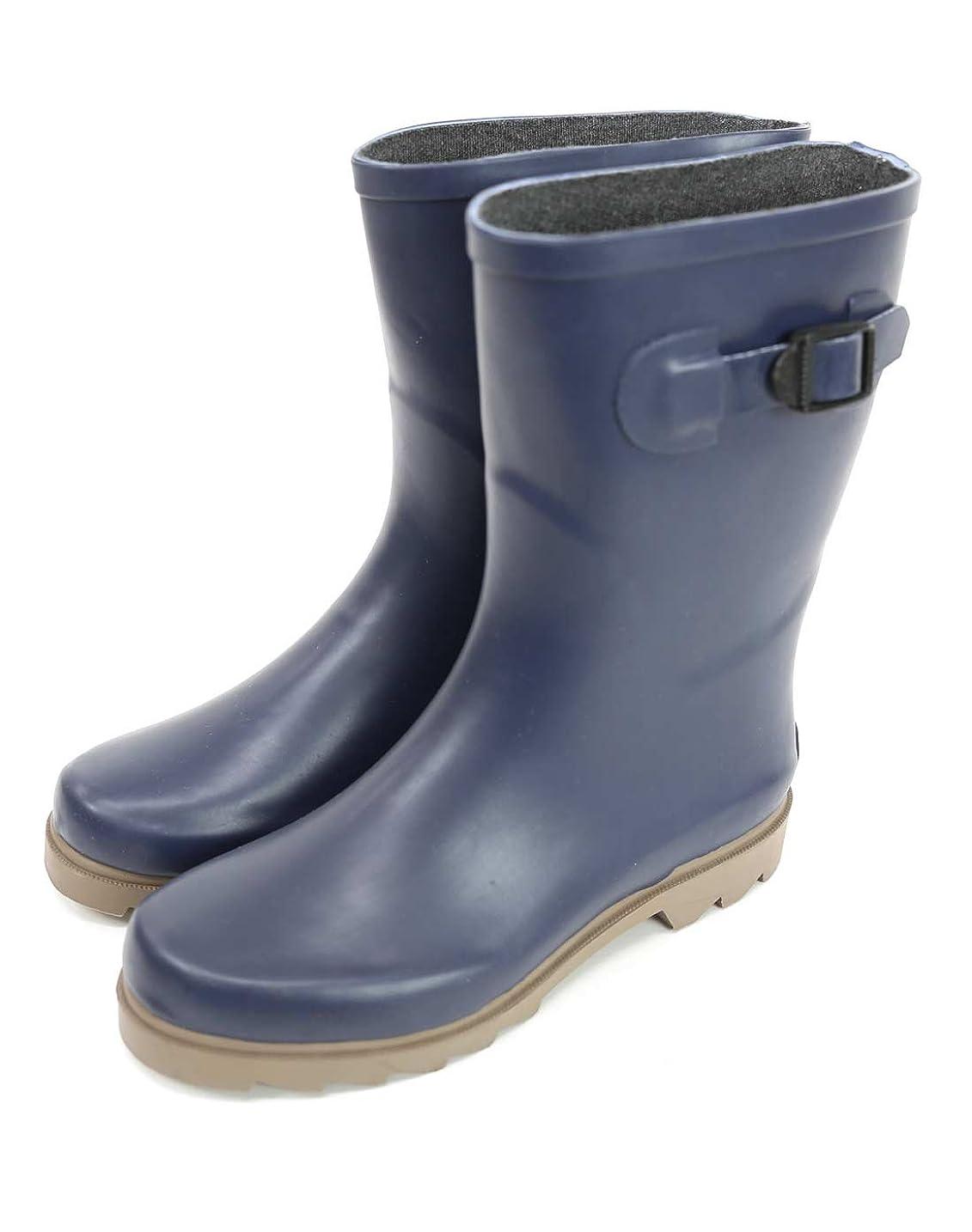 芝生傷つきやすい上に築きます[アンドイット] ベルトデザイン ミドル レインブーツ 雨用 レディース 長靴