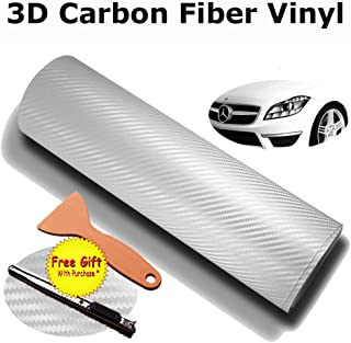 DIYAH 3D White Carbon Fiber Film Twill Weave Vinyl Sheet Roll Wrap DIY Decals with Gift Knife and Hand Tool (120