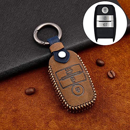 ontto Rindsleder Autoschlüssel Hülle Cover für Kia Ceed Forte NIRO Optima Sedona Sorento Venga Soul Sportage Schlüsselhülle mit Schlüsselanhänger Schlüssel Schutz Etui Fernbedienung 3 Tasten-Braun