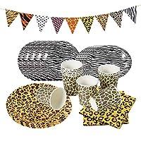 sunbeauty stoviglie per feste di compleanno, giungla decorazioni di compleanno party set con stampa leopardata tovaglioli coppe buntings