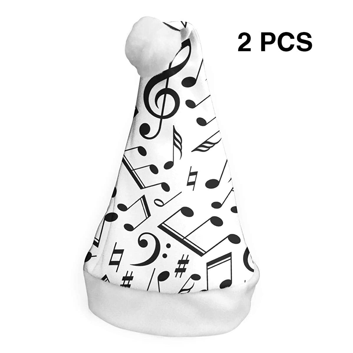 Santa Claus Hat Musical Notes Merry Christmas Hats Adults Children Costume Xmas Decor Party Supplies (2-Pack)