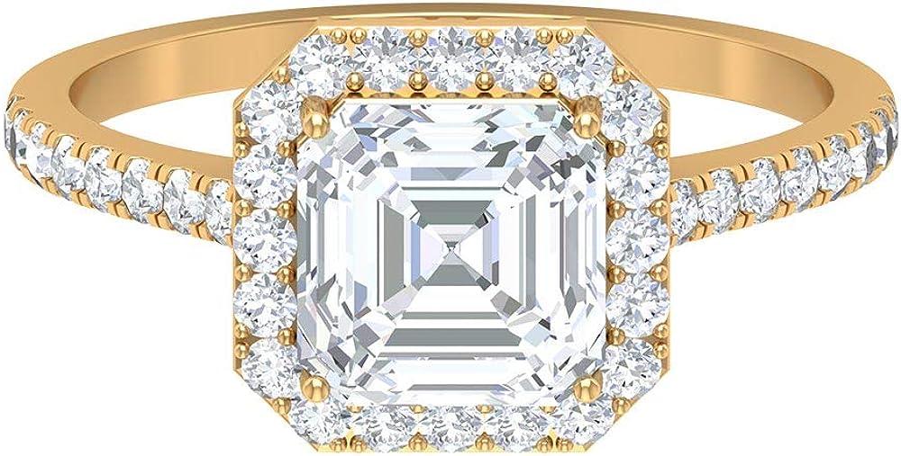 D-VSSI 1.99 CT Moissanite Halo Engagement Ring, 7 MM Asscher Cut Moissanite Ring, Statement Ring, Unique Side Stone Ring, Bridal Wedding Ring, 14K Gold