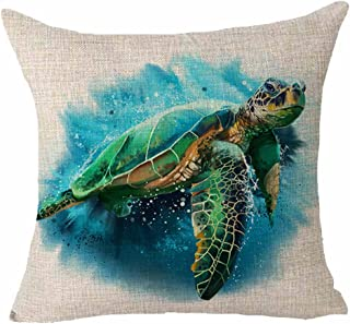 Queen's designer Turtle Blue Watercolor Oil Painting Marine Life Animal Pillows Cotton Linen Decorative Home Office Throw Pillow Case Couch Cushion Cover 18X18 inches