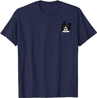 Rough Border Collie Dog In Pocket T-Shirt