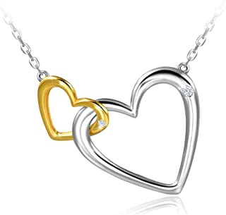 Distance Mother Daughter Necklace for Women Interlocking Two Heart Necklace S925 Sterling Silver Infinity Pendant Necklace for Mom,Jewelry Gift for Mom Daughter Wife