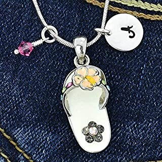 Sandal Flower Personalized Necklace White Pendant Flip Flop Hand Stamped Initial Letter Charm Sparkling Crystals Birthstone Charm Chain Custom Gift Jewelry