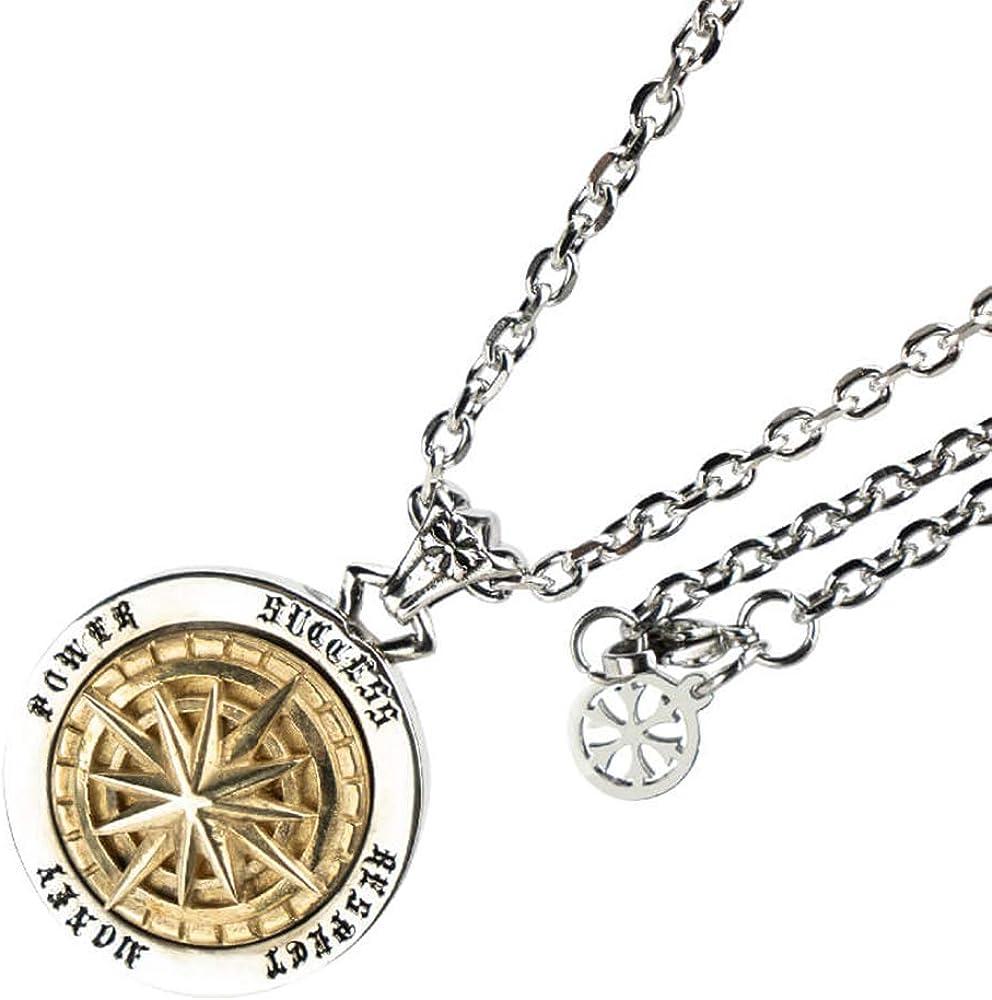 Punk Titanium Stainless Steel Compass Spinner Pendant Necklace for Men Women