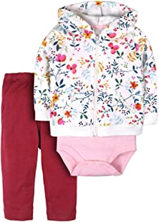 ZEVONDA Baby Clothing Set 3pcs Long Sleeve Hoodie & Bodysuit & Pants Newborn Girl Boy Autumn Winter Clothes Outfits 100% Cotton for 0-18 Months