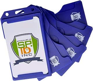 5 Pack - Blue Hard Plastic Badge Holder Vertical - Side Load 2 Card Protector - Multiple Card ID Badge Holders - Heavy Duty Rigid/Hard Plastic by Specialist ID (Dark Blue)