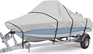 Boat Cover, Heavy Duty 600D Waterproof Runabout Boat Cover, Tri-Hull,Fits V-Hull,Trailerable Speedboat Fishing Ski Boat Co...