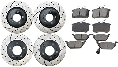 Prime Choice Auto Parts SCD768PR44145 4 Front and Rear Performance Brake Rotors and 8 Ceramic Brake Pads