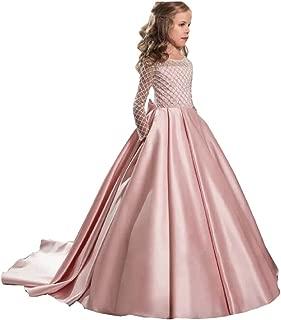 Ghdress Long Sleeves Flower Girls Dresses for Wedding 2018 Stain Long Girls Pageant Prom Dress 27
