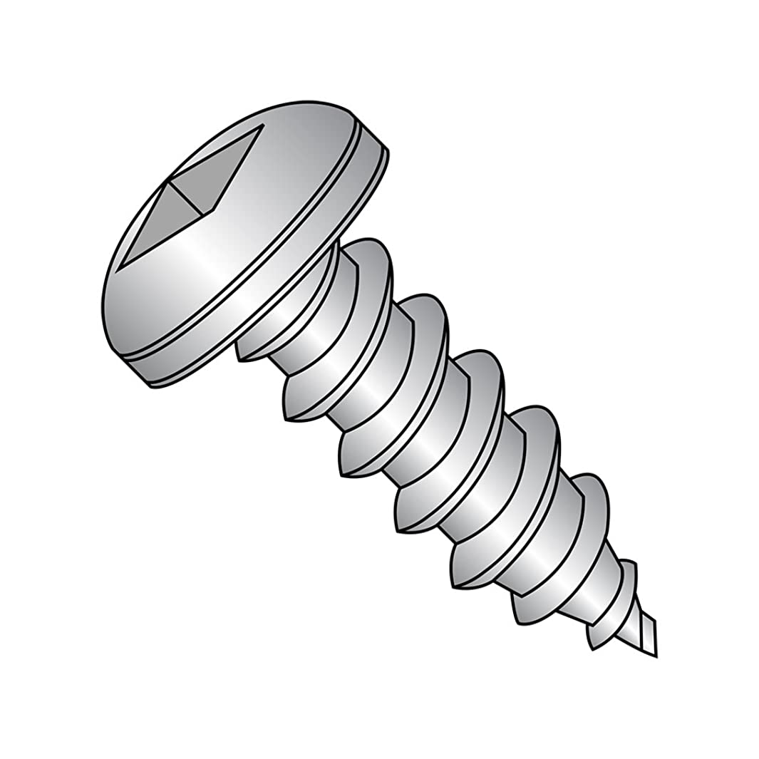 18-8 Stainless Steel Sheet Metal Screw, Plain Finish, Pan Head, Square Drive, Type A, #10-12 Thread Size, 1/2