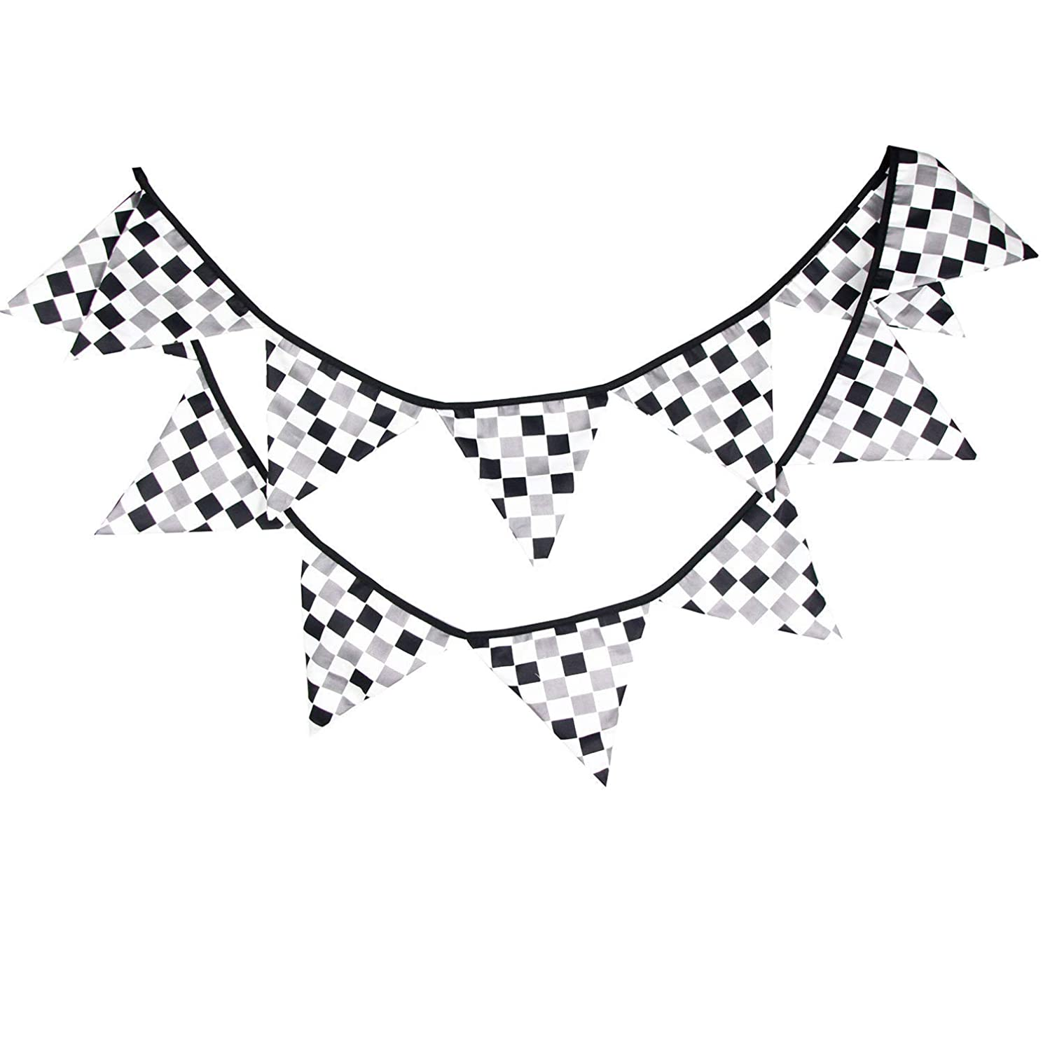 10 Feet Black & White Checkered Plaid Racing Flag Party Banner Cotton Fabric Pennant Bunting for Race Car Theme Party Wedding Birthday Sports Nursery Dorm Hanging Decoration