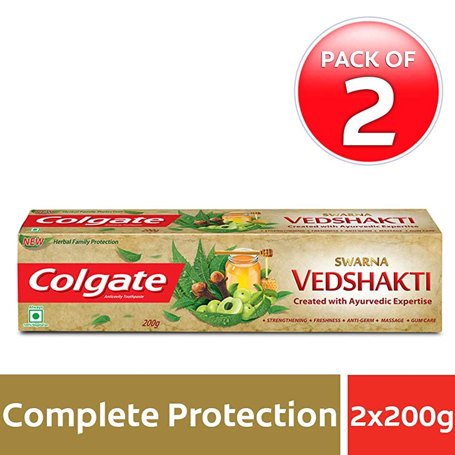 局ブラインドのスコアColgate Swarna Vedshakti Toothpaste - 200gm (Pack of 2)