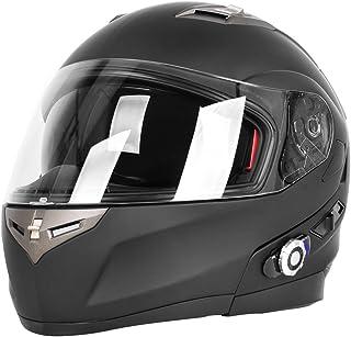 FreedConn Motorcycle Bluetooth Helmet BM2-S Bluetooth Integrated Modular Flip up Dual Visors Full Face Motorcycle Helmet Built-in Intercom Communication Range 500M FM Radio (Large, Matte Black)