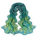 KPILP Frauen Retro Pfau Muster Schal Elegante weiche flauschige Seidenchiffon Schal Kopftücher Pashminas Chiffon