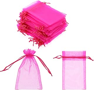 SumDirect 100Pcs 4x6 Inches Sheer Drawstring Organza Jewelry Pouches Wedding Party Christmas Favor Gift Bags (Hot Pink)