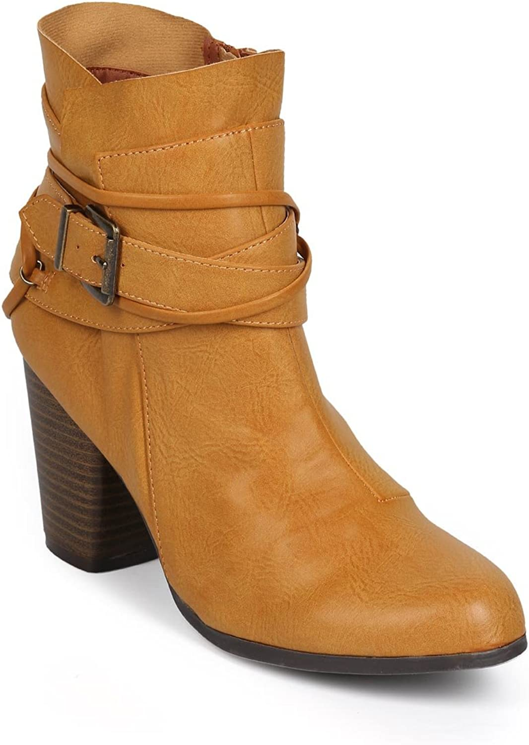 Qupid Women Leatherette Strappy Chunky Heel Zip Riding Bootie DJ34 - Camel Leatherette