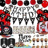 Décorations de fête d'anniversaire de Pirate avec bannière de Tatouage de Pirate Ballons de Bateau de Pirate pour Enfants 1er 2e 3e 5e 6e 10e Fournitures d'anniversaire sur Le thème des Pirates