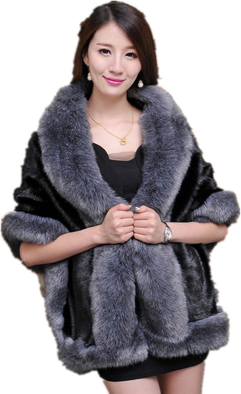 2016 Winter Women's Faux Fox Fur Double Layers Shawl Cloak Cape Coat
